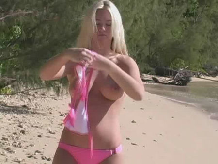Young Blond Teenager Undressing on the Beach